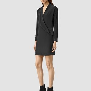 All Saints Silk Black Shirt Dress, US 2 / UK 6